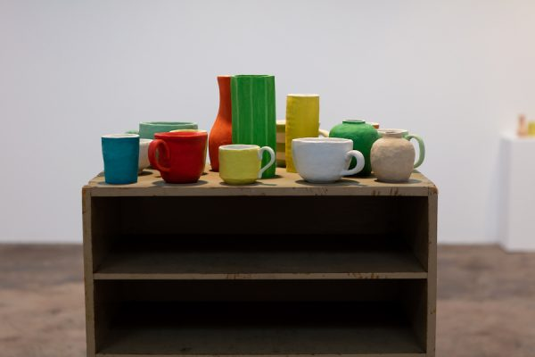Installation view, Francesca Fuchs' Painting and Mugs