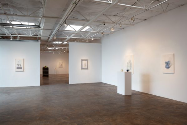 Installation view of Francesca Fuchs' show Paintings and Mugs at Talley Dunn Gallery, Dallas, 2020