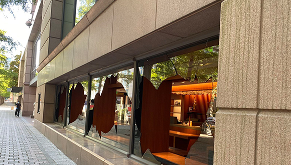 Damage to Crow Museum of Asian Art on Flora Street in Dallas Photo Credit: Nasher Museum's Jill Magnuson while inspecting damage in the area. (Jill Magnuson / Nasher Sculpture Center)-via Dallas Morning News