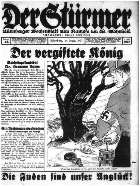 """""""When the Vermin are dead, the German Oak will again flourish,"""" cartoon signed Ru-pens on the front page of the Nazi newspaper Der Stürmer, December 5, 1927."""