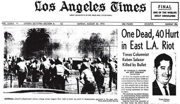 Los Angeles Times front page, August 30, 1970, which states that Salazar was killed by a bullet in the Silver Dollar.
