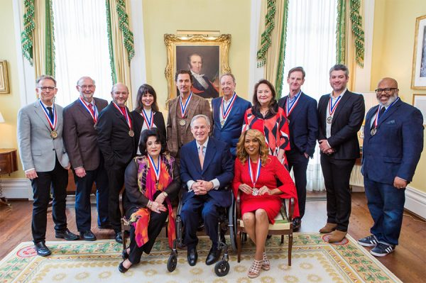 2019 Honorees of the Texas Medal of Arts award, seen here with Teas Govenor Greg Abbott