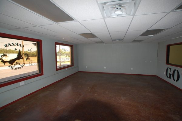 Interior of the former barber shot at 405 Martin Luther King Boulevard in Lubbock, now home to East Lubbock Art House.