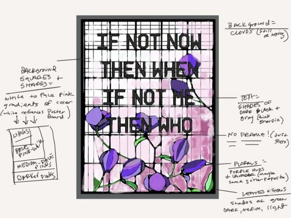 Artist sketch of 3D digital window designed as part of LaFleur's Coded Glass series.