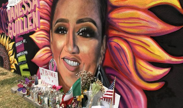 Detail of mural of Army Spc. Vanessa Guillen by Juan Valesquez, on Belknap Street at the edge of downtown Fort Worth