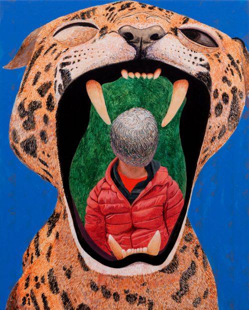 Francisco Moreno. Tezcatlipoca, 2020 acrylic on panel 20 x 16 inches.