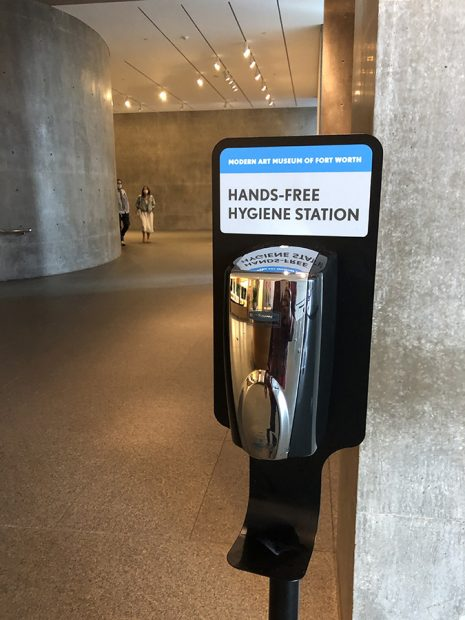 Hand sanitizer station at the Modern Art Museum of Fort Worth, July 24, 2020