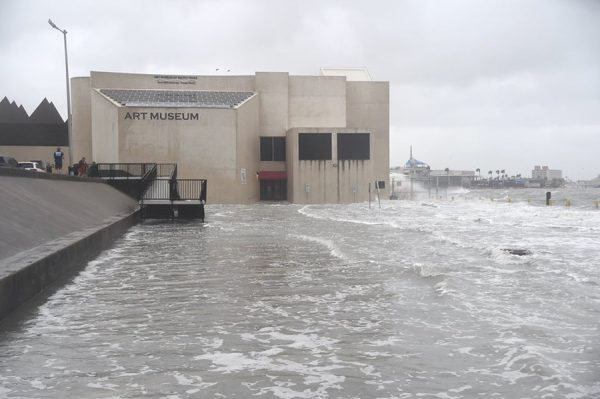 Hurricane Hanna flood waters at the Art Museum of South Texas