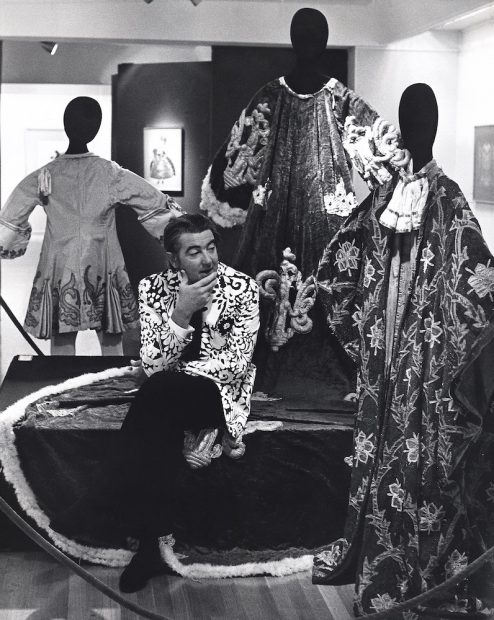 Robert L. B. Tobin installing Explosion: Color: Paris: 1909 at the McNay, 1969.
