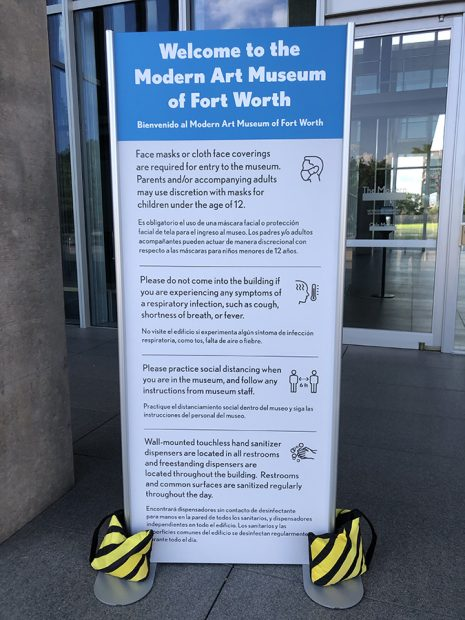 Safety protocol sign at the entrance to the Modern Art Museum of Fort Worth, July 24, 2020