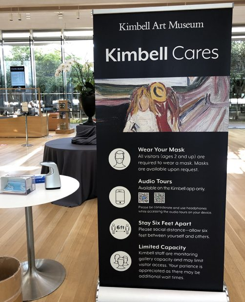 Sign at the entrance to the Kimbell Art Museum, July 24, 2020