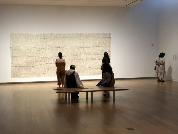 Social-distancing at the Mark Bradford exhibition at the Modern Art Museum of Fort Worth, July 24, 2020