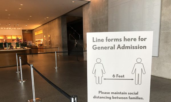 Social distancing sign at the entrance to the Modern Art Museum of Fort Worth, July 24, 2020