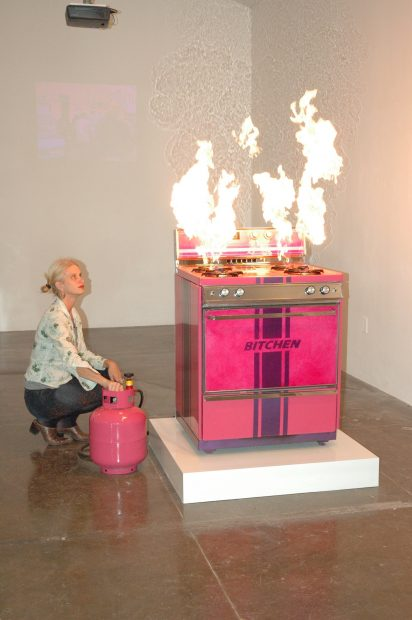 """Katie Pell With """"Bitchin Stove."""" Acquired By Ruby City December, 2009."""