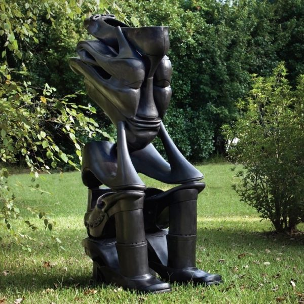 Willie Cole, The Sole Sitter, 2013. Bronze.
