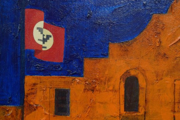 Felipe Reyes (b. 1944), Sacred Conflict (detail with flag).