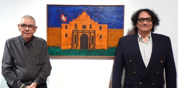 Felipe Reyes and Ruben C. Cordova with Sacred Conflict at the Guadalupe Cultural Arts Center, 2018.