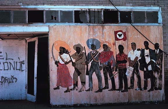 Antonio Bernal,Del Rey Mural, 1968, house paint on wood, El Teatro Campesino office wall