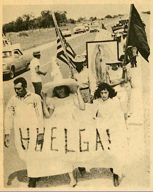 Starr County melon strikers on the way to Austin, marching by the highway, 1966.