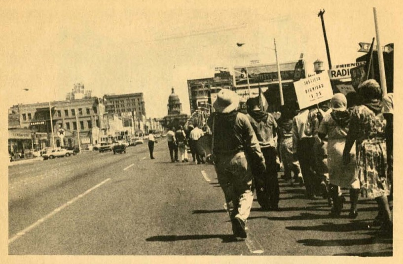 UFW marchers arrive in Austin, Labor Day, 1966.