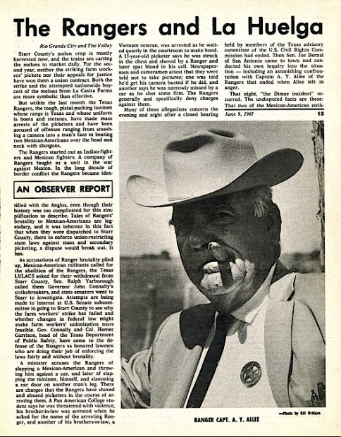 Texas Observer, June 9, 1967, with photograph of Ranger Captain A.Y. Allee.