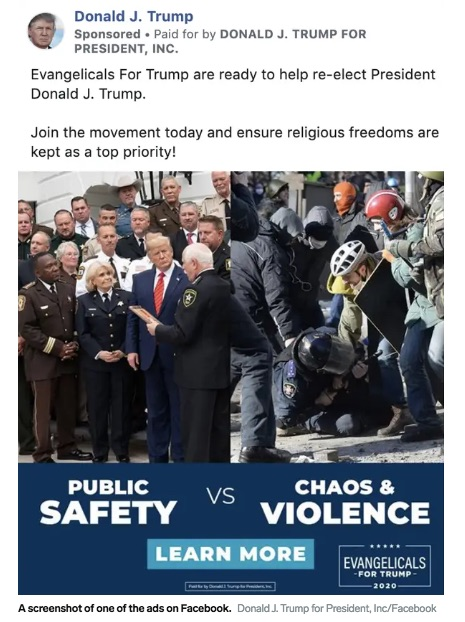 Screenshot of Trump reelection campaign advertisement on Facebook