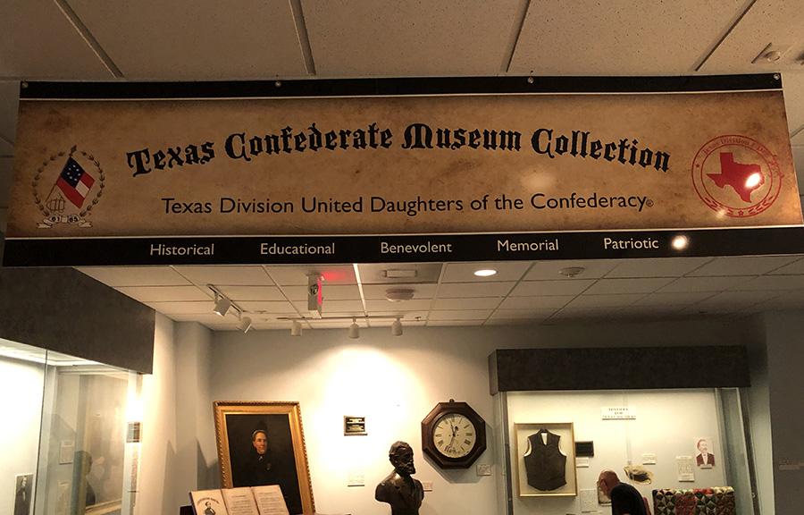 A large banner a bust of Jefferson Davis at The Texas Civil War Museum, White Settlement, Texas