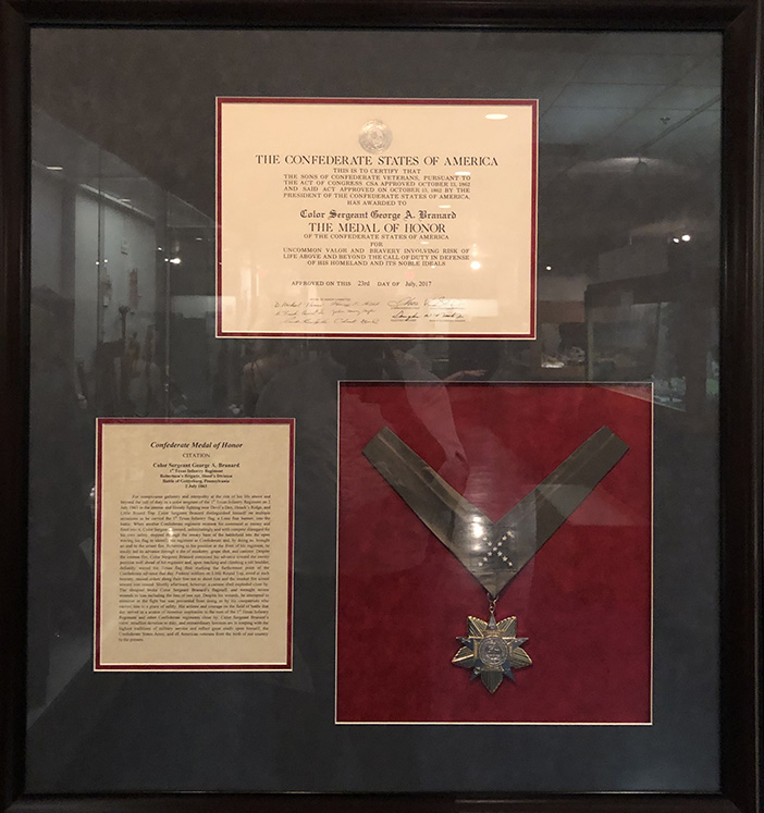 A posthumus medal of honor displayed at The Texas Civil War Museum, White Settlement, Texas