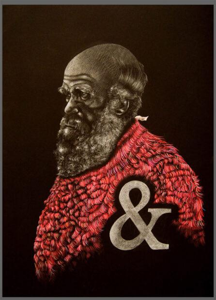 Darwin And. 30x22 Colored Pencil