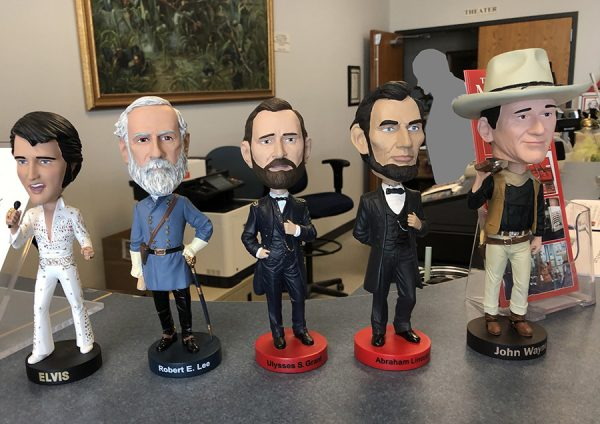 Elvis, Lee, Grant, Lincoln, and Wayne, at the front counter of the Texas Civil War Museum, White Settlement, TX.