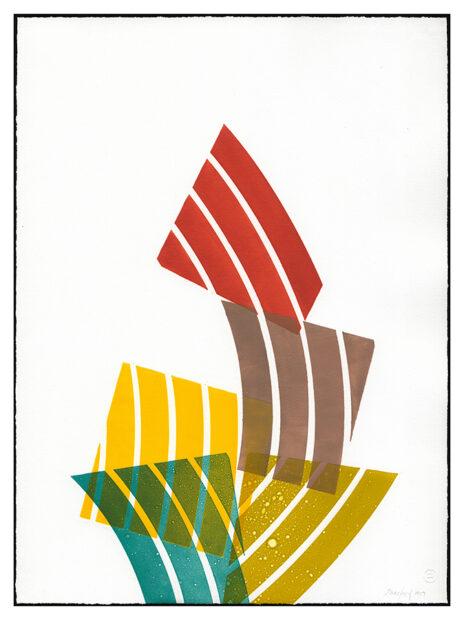 "Emily Weiskopf, ""Carmen Miranda monoprint,30"" x 22"", 2019."