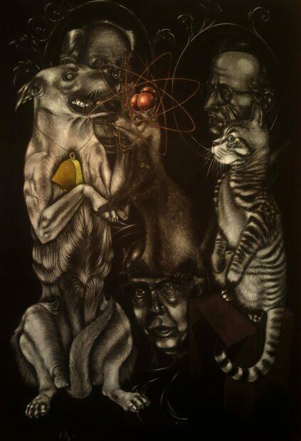 Schrodinger's Cat, Pavlov's Dog, and Bohr's Weasel. Alvaro Perez, Colo pencil 44 x 30, 2017