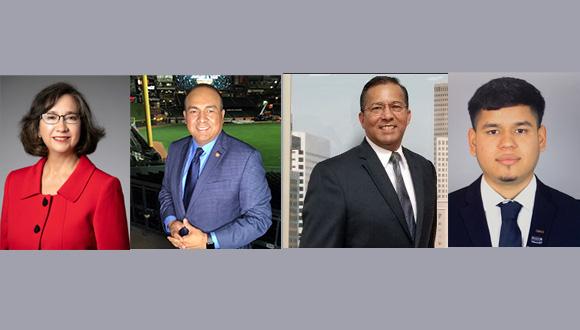 From left, Dr. Sandra Guerra Thompson,Hugo Mojica, Alfonso Maldonado III, and Yonatan Mascorro