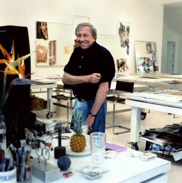 Artist Robert Rauschenberg in his studio