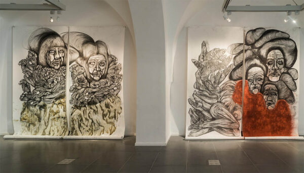 Roey Victoria Heifetz mural drawing, on view at Bill Arning Exhibitions in October 2020.