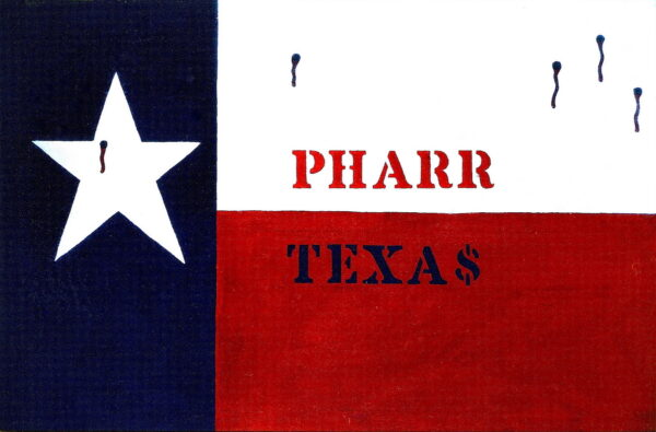 Felipe Reyes (b. 1944), Pharr c. 1971, acrylic on canvas