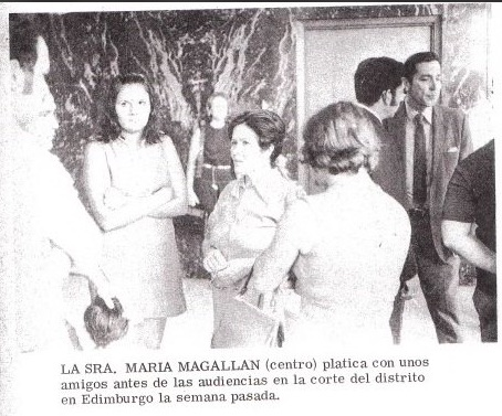 Maria Magallan (center), in district court, Edinburg, Texas.