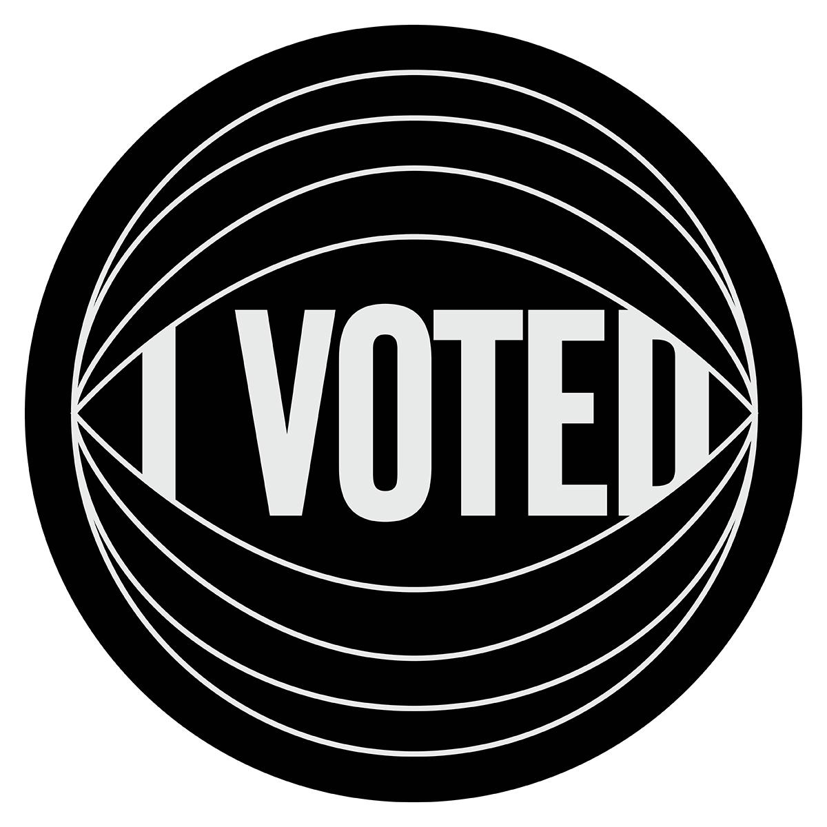 Hank Willis Thomas'I Voted' sticker, via New York Magazine.
