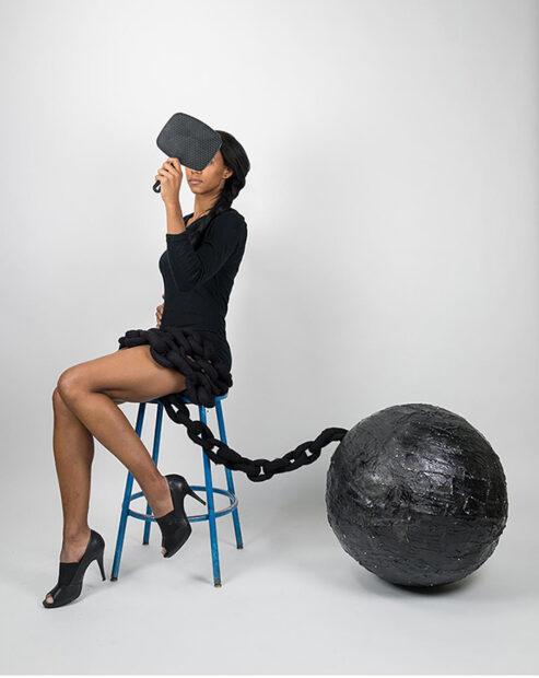 Kate Turner Untitled Felt, plaster, paint, cotton dress