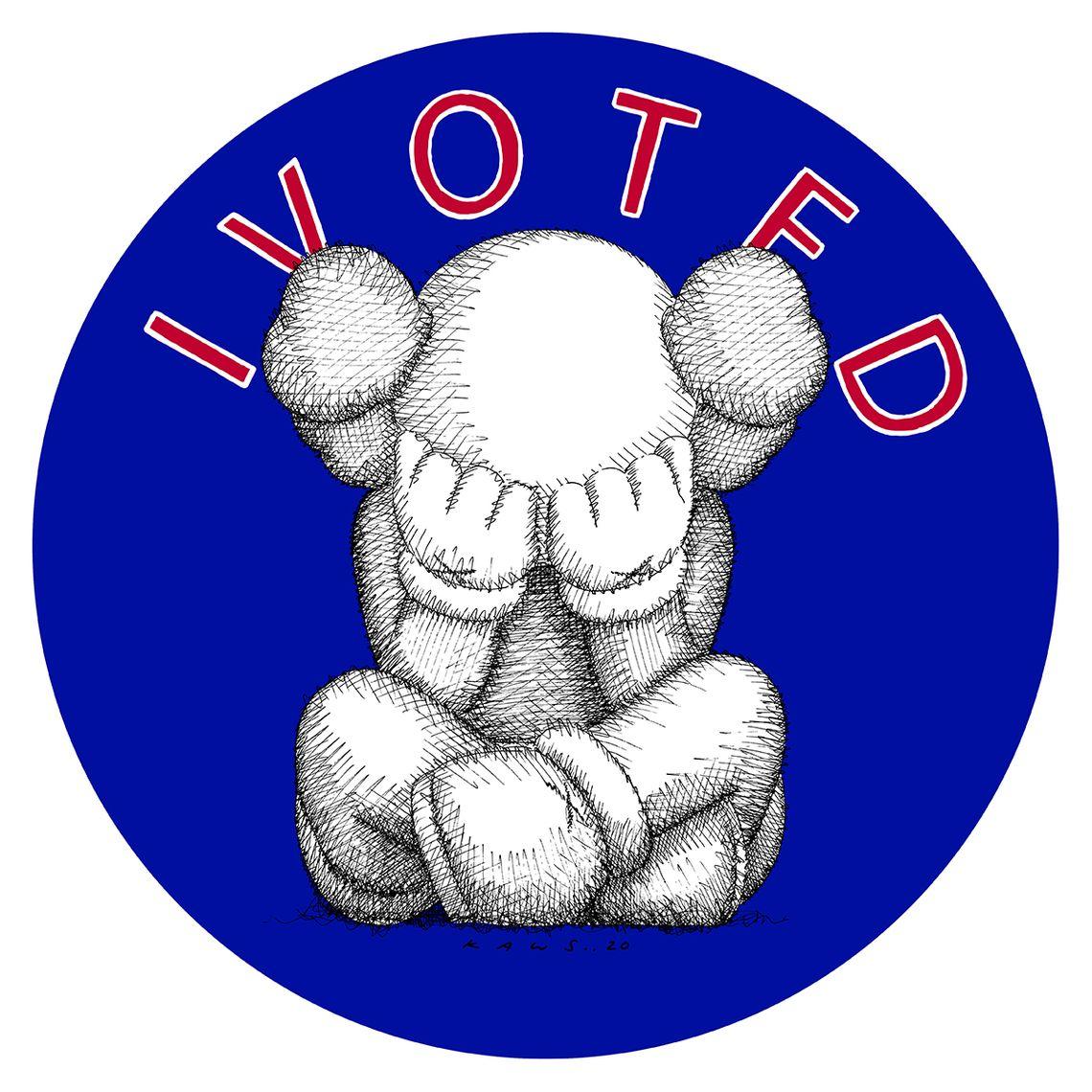Kaws' 'I Voted' sticker, via New York Magazine.