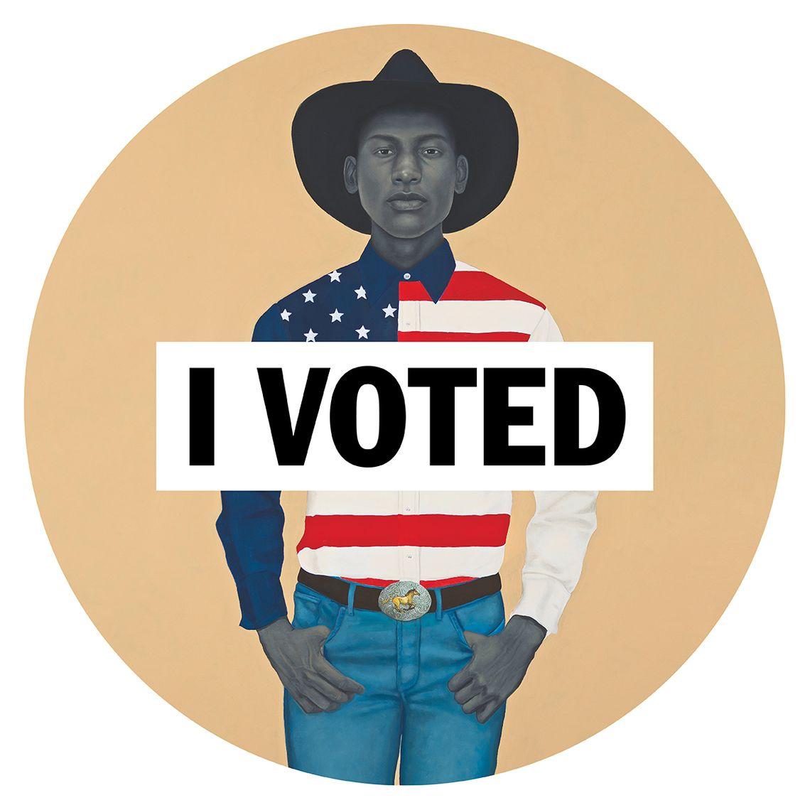 Amy Sherald's 'I Voted' sticker, via New York Magazine.