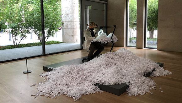 Bernardo Vallerino in his Nasher Public installation-October, 2020