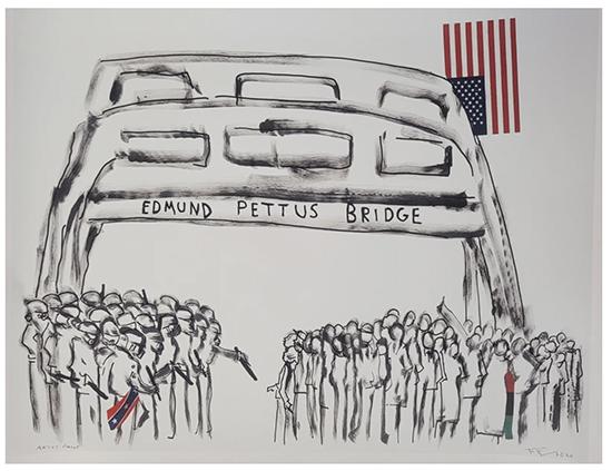 EDMUND PETTUS BRIDGE, 2020 Mixed Media Shoe Polish, 20x32 inches-Frank Frazier
