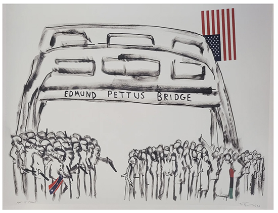EDMUND PETTUS BRIDGE, 2020 Mixed Media Shoe Polish, 20x32 inches-Frank Frazier