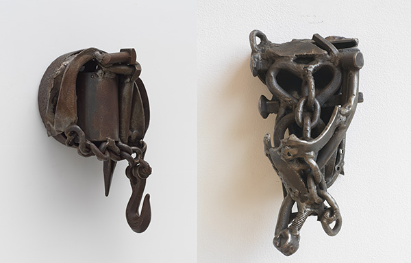 """Melvin Edwards, left, """"Now We Know,"""" 1979 Welded steel, right, """"Iraq,"""" 2003, Welded steel."""