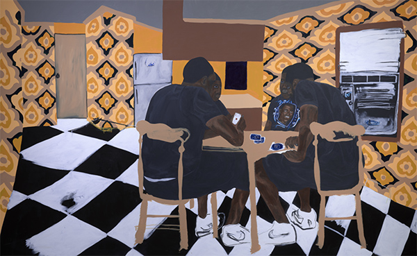 Jammie Holmes, Four Brown Chairs, 2020, acrylic on canvas, Dallas Museum of Art