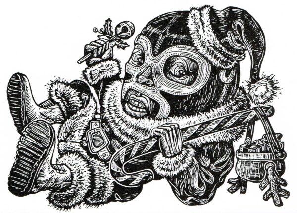 Linocut by Texas artist Juan de dios Mora