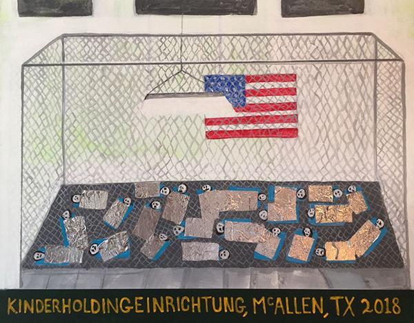 Alejandro-Diaz,-Kinderholdingeinrichtung,-McAllen,-TX,-2018,-Acrylic-and-mylar-on-canvas,-22-x-28'
