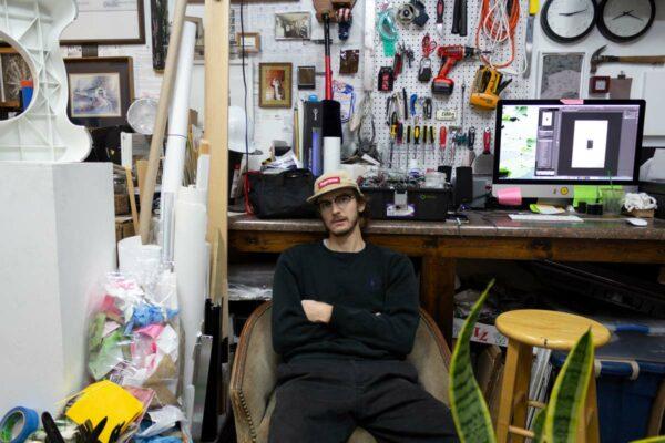 Evan Sheldon in his Dallas studio