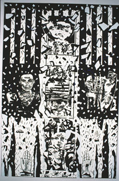 Patssi-Valdez,-Scattered,-Self-Help-Graphics,-Los-Angeles,-CA,-1987,-Collaged-self-portrait,-Kodalith-transfer-Screen-Print,-36-x-24',-Edition-of-54